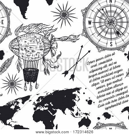 Seamless pattern with vintage compass, world map, airship and wind rose. Retro hand drawn vector illustration in sketch style