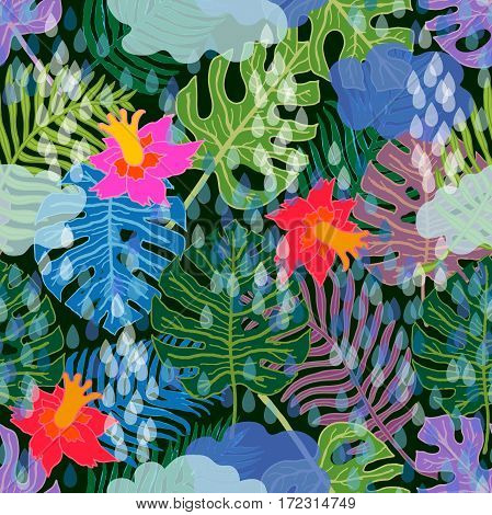 Seamless vector pattern with palm leaves, exotic flowers and water drops. Ethnic textile collection.