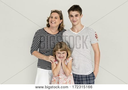 Mom son daughter happy family