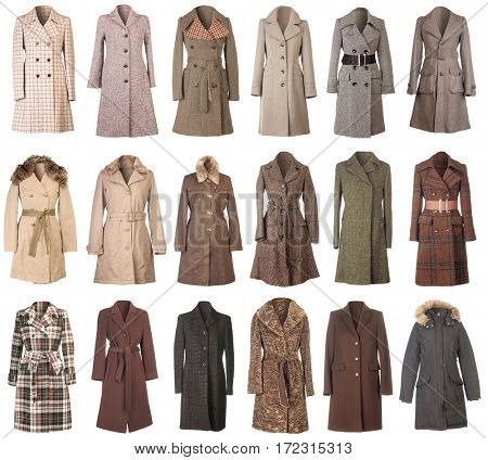 Female Winter Woolen Coats Isolated on White Background