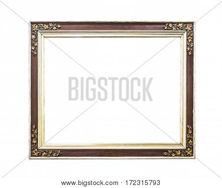 Antique golden wooden frame isolated on white with clipping path