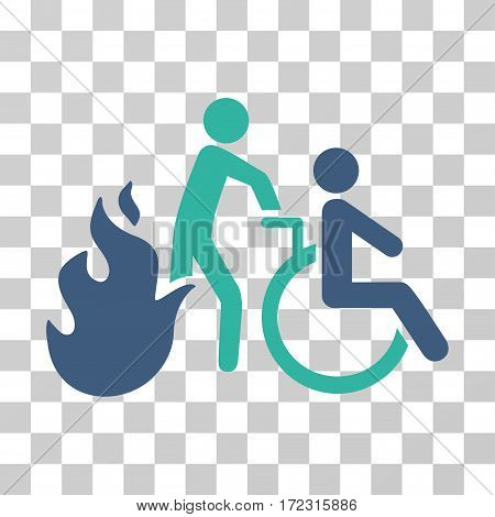 Fire Patient Evacuation vector icon. Illustration style is flat iconic bicolor cobalt and cyan symbol on a transparent background.