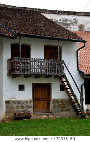 Courtyard of the medieval fortified church Harman, Transylvania