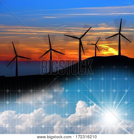 Wind and Solar Energy Concept - 3D illustration of a group of wind turbines at sunset and a solar panel with blue sky clouds and sun rays