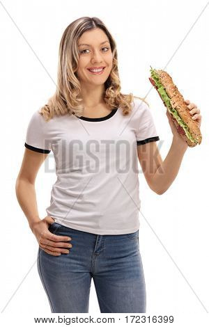 Happy young woman with a sandwich isolated on white background
