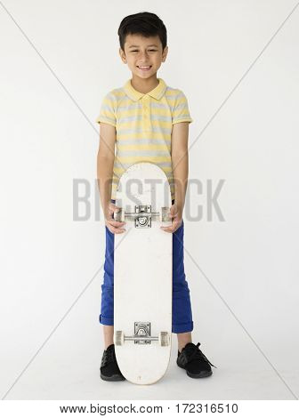 Boy Playing Skateboard Sport Activity