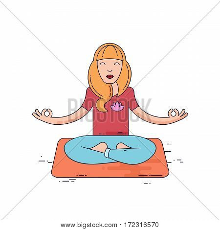 Young woman meditate. Yoga pose flat line vector illustration
