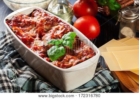 Hot Tasty Lasagna With Spinach In Ceramic Casserole Dish