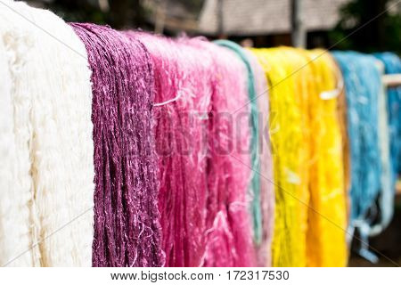 Colorful of raw silk, material after dye.