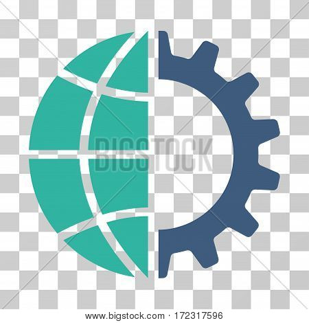 Global Industry vector icon. Illustration style is flat iconic bicolor cobalt and cyan symbol on a transparent background.