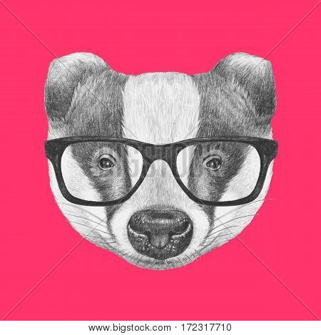 Portrait of Badger with glasses. Hand drawn illustration.
