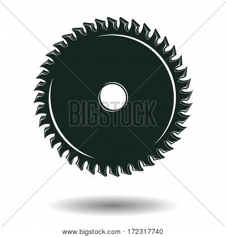Circular saw sign or symbol, monochrome element for woodwarking emblem, logo or icon isolated on white background, vector