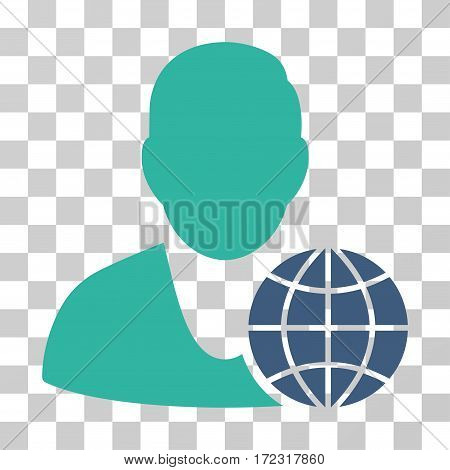 Global Manager vector pictograph. Illustration style is flat iconic bicolor cobalt and cyan symbol on a transparent background.