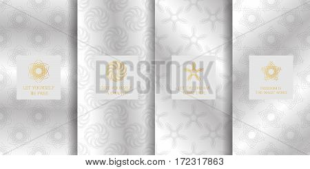 Collection of silver backgrounds and golden geometric elements. Set of labels icons logos and seamless patterns. Templates for luxury products packaging etc.