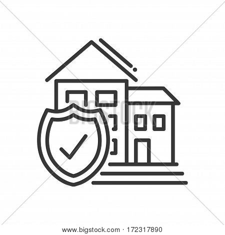 Insurance - vector modern line design illustrative icon. A house and an official badge representing security, protection.