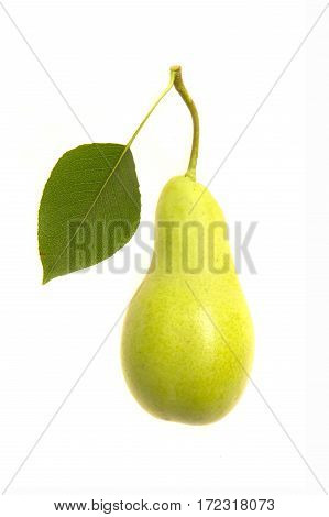 Pear yelow with green leaves on  white background