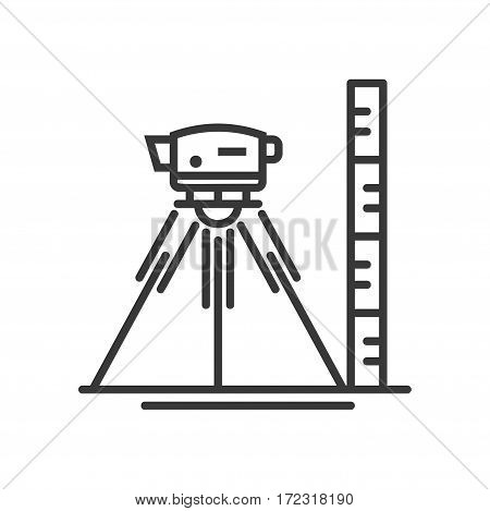 Surveyor level - vector modern line design illustrative icon. Concept model of level in modern, minimalistic style