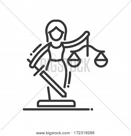 Justice - vector modern line design illustrative icon. Lady Justice with a sword and balance scales.