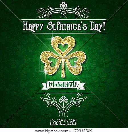 Green card for Patricks day with big golden shamrock vector illustration