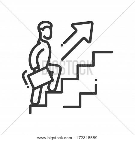 Carrier Growth - vector modern line design illustrative icon. A person holding a case and going up the ladder with arrow pointing upwards.