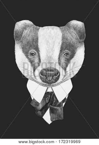 Portrait of Badger in suit. Hand drawn illustration.