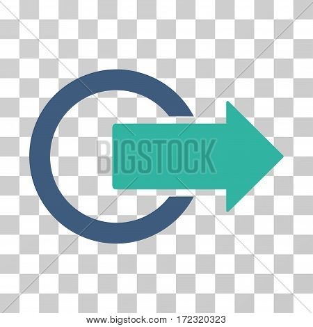 Logout vector pictograph. Illustration style is flat iconic bicolor cobalt and cyan symbol on a transparent background.