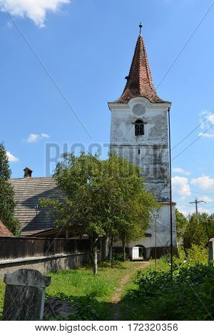 Tower of old saxon evangelic church in Halmeag .In Transylvania there are many saxon churches. This church is 800 years old.