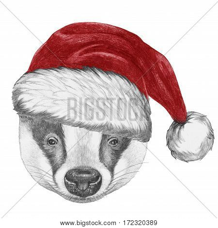 Portrait of Badger with Santa Hat. Hand-drawn illustration.