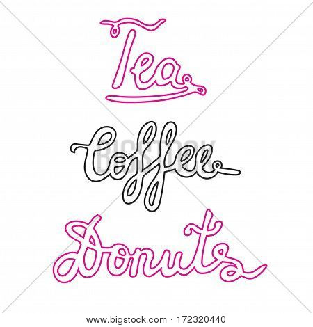 Coffee, Donuts, Tea light signage signs. Hand drawn banner for coffee shop, bar, cafe. Vector isolated signposts.