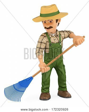 3d working people illustration. Gardener working with a rake. Isolated white background.