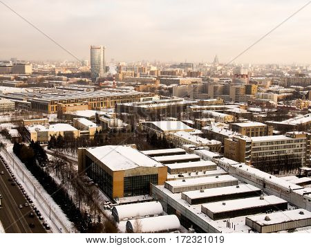 Industrial winter city view from window. Moscow, Russia.