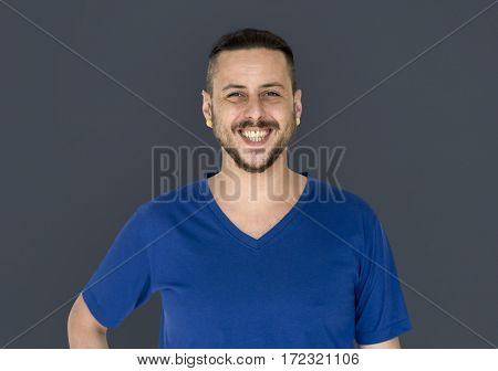Casual happiness man is smiling to a camera