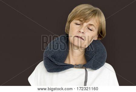 Senior Adult Woman Neck Pillow Comfortable Sleeping Concept