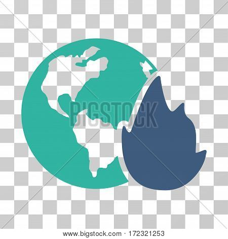 Planet Flame vector pictograph. Illustration style is flat iconic bicolor cobalt and cyan symbol on a transparent background.
