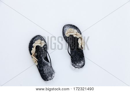 Pair of black and beige flowers women sandals on the white  snow. Winter funny scene. Fashion ideas. Christmas background.