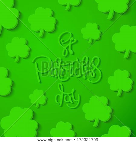 Saint Patrick's Day background. Creative green shamrock leaves and 3D lettering. Vector design elements
