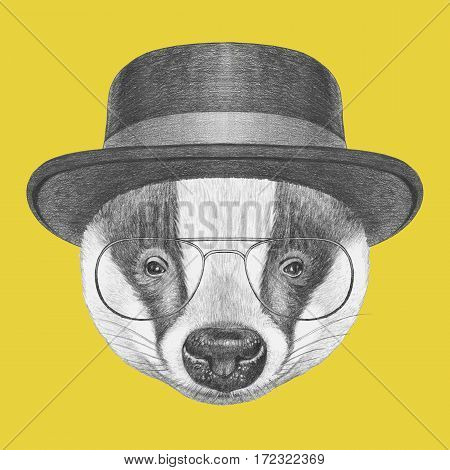Portrait of Badger with hat and glasses. Hand-drawn illustration.
