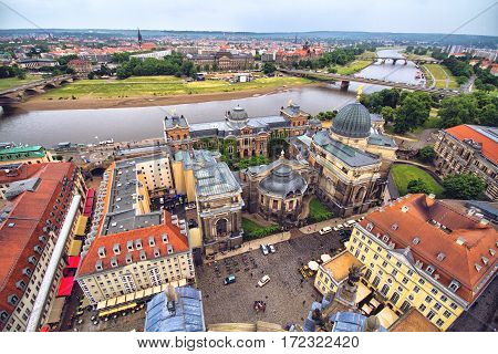 View of Dresden and the Elbe river from the observation tower