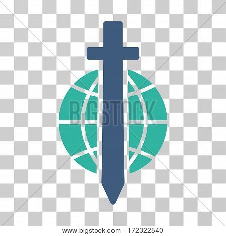 Sword Globe vector pictograph. Illustration style is flat iconic bicolor cobalt and cyan symbol on a transparent background.