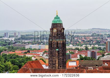 View of New Town Hall Tower in Dresden, Saxony, Germany in rainy weather. Top view