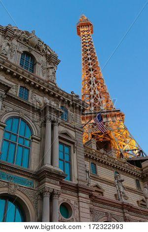 LAS VEGAS - OCT 09: Paris Las Vegas is a luxury resort and casino on Las Vegas Strip on Oct. 09, 2016 in Las Vegas, Nevada, USA. The hotel has Paris theme including Eiffel Tower and the Louvre.