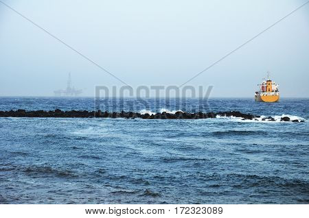 Gas and oil rig. Offshore exploration platform.