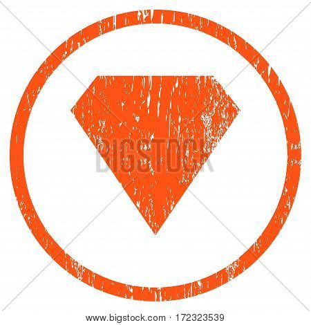 Diamond grainy textured icon for overlay watermark stamps. Rounded flat vector symbol with scratched texture. Circled orange ink rubber seal stamp with grunge design on a white background.