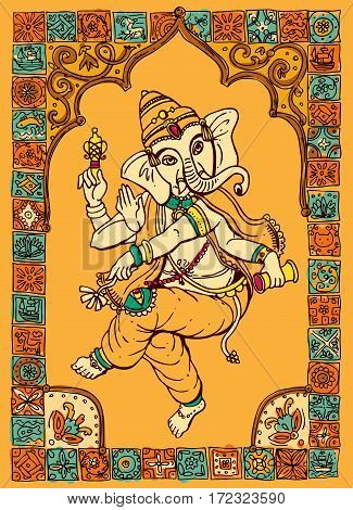 Vector illustration with Ganesha. Drawing by hand. Good for print for t-shirt, card, invitations.