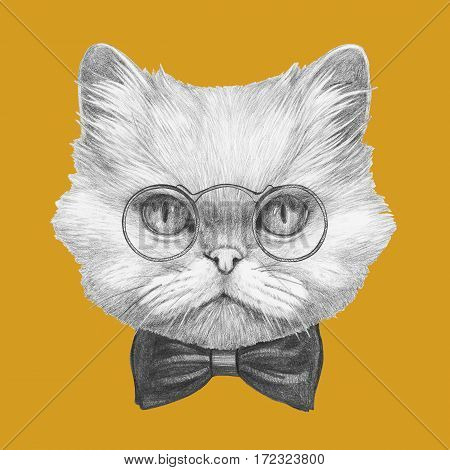 Portrait of Persian Cat with glasses and bow tie. Hand-drawn illustration.