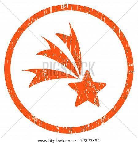 Falling Star grainy textured icon for overlay watermark stamps. Rounded flat vector symbol with dust texture. Circled orange ink rubber seal stamp with grunge design on a white background.