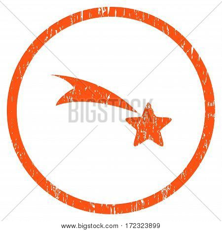 Falling Star grainy textured icon for overlay watermark stamps. Rounded flat vector symbol with scratched texture. Circled orange ink rubber seal stamp with grunge design on a white background.