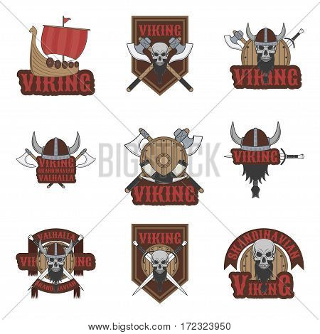 Football, baseball, lacrosse and hockey logos and labels. Sport club emblems with viking.