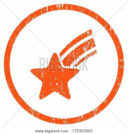 Falling Star grainy textured icon for overlay watermark stamps. Rounded flat vector symbol with unclean texture. Circled orange ink rubber seal stamp with grunge design on a white background.