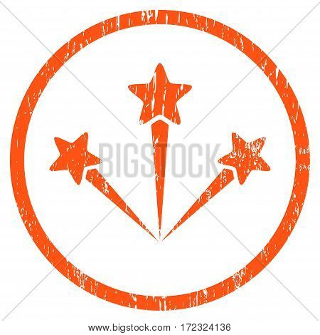 Festive Fireworks grainy textured icon for overlay watermark stamps. Rounded flat vector symbol with unclean texture. Circled orange ink rubber seal stamp with grunge design on a white background.